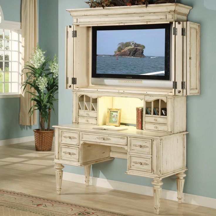 THIS!!!   Hooker Shabby Chic Computer Desk with Optional TV Hutch - Writing Desks at Computer Desks