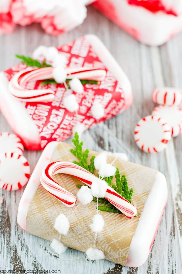 DIY Peppermint Soap (Melt and Pour) with a few cute ways to wrap it up too!  From:  A Pumpkin And A Princess