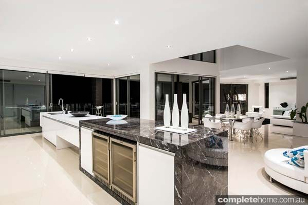 Enigma Interiors home project - black marble kitchen island