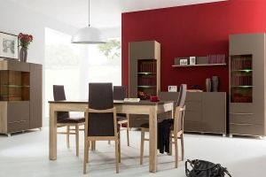 LEJLA BRW Dining room furniture set. Additionally showcases are equipped with LED lighting which will give the living room a more interesting character. The furniture system Lejla is a combination of modern design trends and fashionable colours. Polish BRW Modern Furniture Store in London, United Kingdom #furniture #polish #brw #diningroom