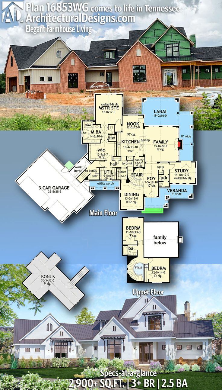 Plan 16853WG: Elegant 3-Bed Farmhouse with Great Outdoor ... on Farmhouse Outdoor Living Space id=70364