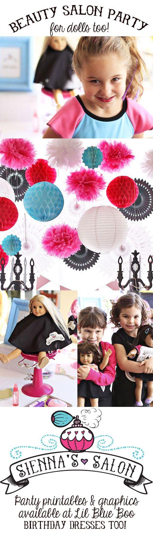 Beauty Salon Party (with American Girl Salon too!) via lilblueboo.com #americangirl #party #diy