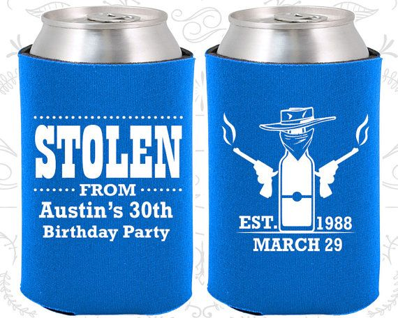 30th Birthday, 30th Birthday Favors, Customized Party Ideas, Stolen Birthday, Cowboy Birthday Favors, Birthday Party Favors (20194)