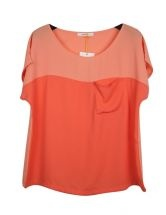 Orange Batwing Sleeve Scoop Neck T-shirt With Pocket