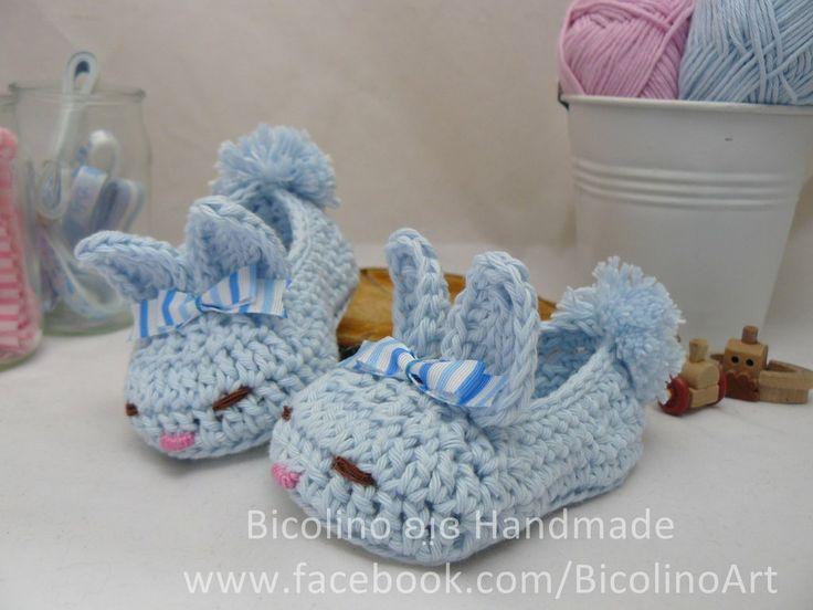 Piccole babbucce coniglietto per neonato (Maschietto), by Bicolino ʚı̤ɞ , 17,00€ su misshobby.com