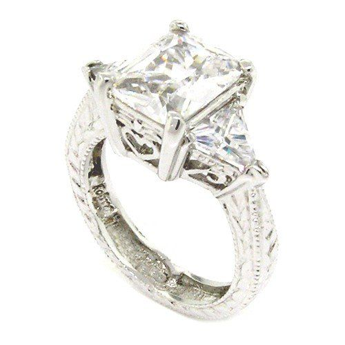 Sterling Silver Vintage Engagement Ring w/Radiant & Trilliant White CZs Size 9