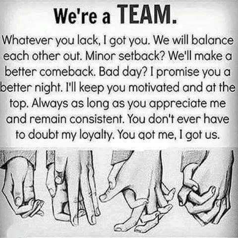 We're too good together and not to be against eachother! I know you always got us! Love that security feeling""