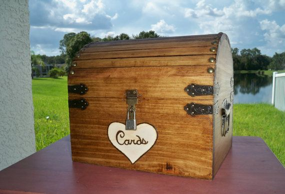 RUSTIC WEDDING CARD box stained wood card chest by LisaMarieDS