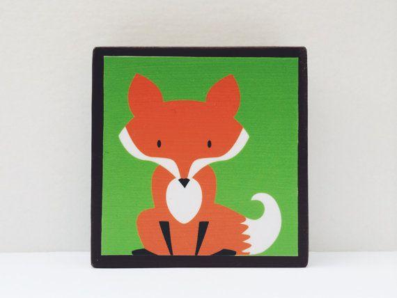 Little Red Fox Art Block Grassy Green Background  by WoodlingsArt, $15.00