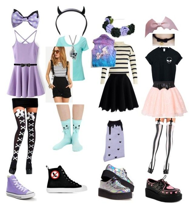 """pastel goth outfits!"" by becauseamazingness ❤ liked on Polyvore featuring Converse, Simplex Apparel, Black Pearl, Club Exx, Moschino, Alice + Olivia, Migh T By Kumiko Watari, T.U.K., Tabula Rasa and Chicwish"