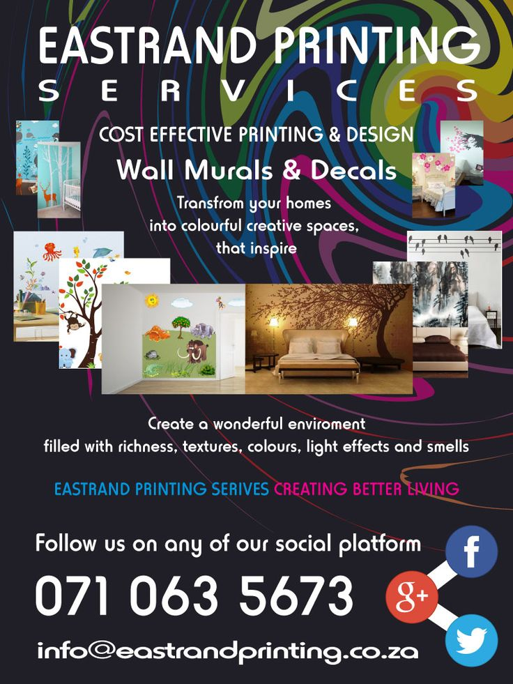 Affordable Home Decor With cut out vinyl's, printed vinyl's and custom designs we offer alternative solutions to that plain boring coat of paint on your bedroom wall. Alter your reality and transport yourself to serenity with wall murals that will spoil your senses. For more info please contact us @   071 063 5673