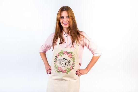 Monogram apron Personalized apron Linen apron pinafore with