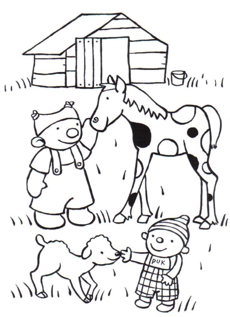 kleurplaat ik en co boerderij thema kleurplaten