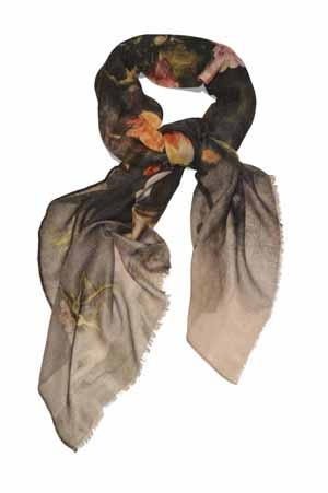Vase Scarf by Vita Gottlieb from Miratis.com.  cashmere scarf printed with Seventeenth Century Dutch painter Jacob Vosmaer's 'A Vase with Flowers'. This scarf is deliciously soft and is suitable for all seasons.