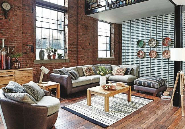 open plan living dining room ideas leather corner sofa and leather armchair