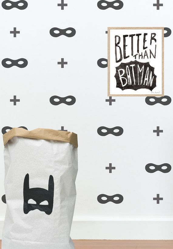 Superhero wall decals, mask and plus sign set, batman, wall pattern  #037