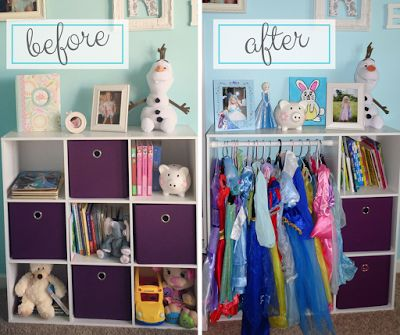 DIY dress up station. Convert storage cubbie from Target into the perfect dress up station for your little girl