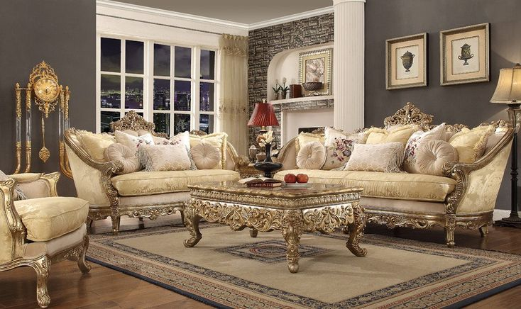 French Cersei 3 pc Living Room Set