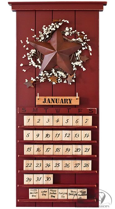 Red Barn Star Perpetual Calendar--I have a calendar like this, but don't like the subject matter, now I know what to do with it !!!!