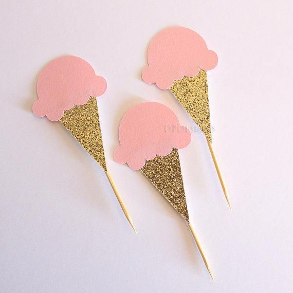 Ice Cream Cupcake Topper, Pink and Gold Party, First Birthday, Ice Cream Party – …   – EIS / ICE CREAM