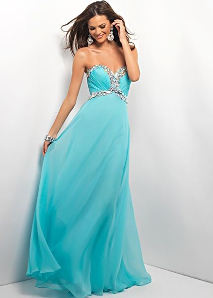 BEAUTIFULLY Beaded Aqua Strapless Dress Prom Dress - Prom Gowns - Formal Dresses - Blush Prom 9516 - RissyRoos.com