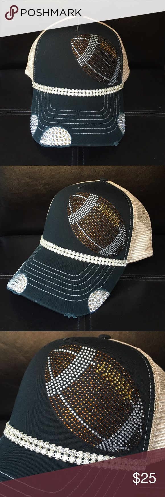 Black football bling trucker hat Handmade black football bling trucker hat. Swarovski crystals and trim. Beige mesh for backing. Perfect for football season and football moms! Accessories Hats