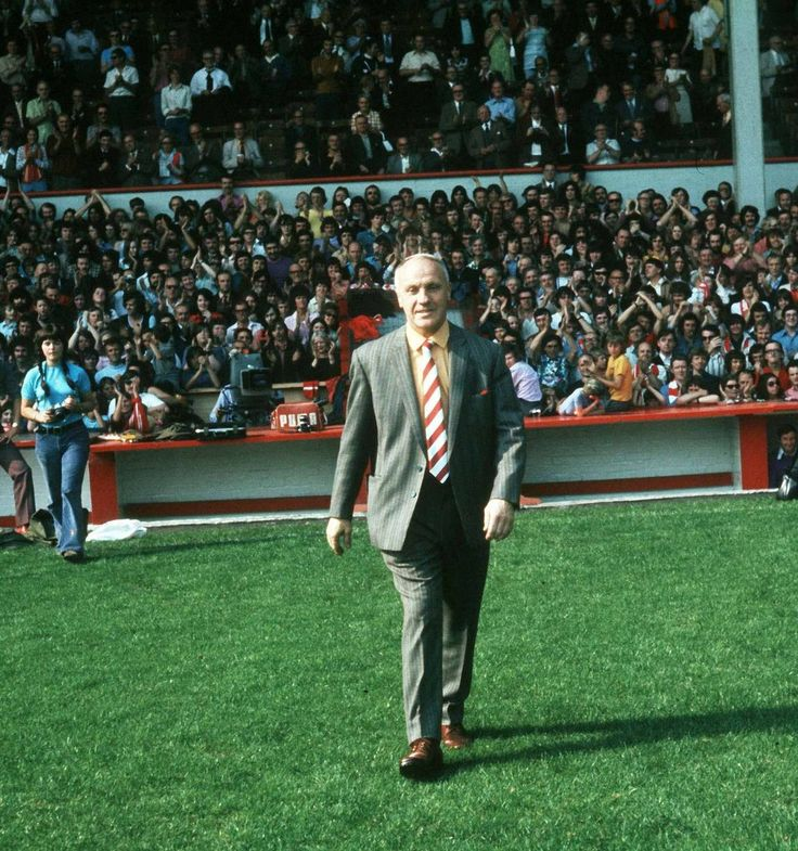 Bill Shankly takes to the Anfield pitch in 1973
