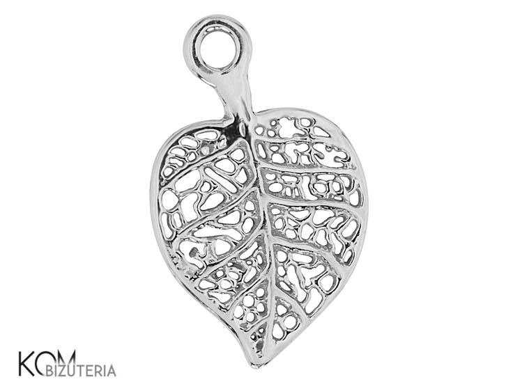 Silver leaf pendant, charm W 94. Silver pendant/charm in a shape of a leaf. Ideal for necklaces, bracelets and earrings.