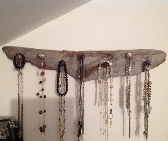 Driftwood Necklace Hangers with cool knobs! Each piece is unique made by CraftYou, $29.99. Purchase on Etsy.com