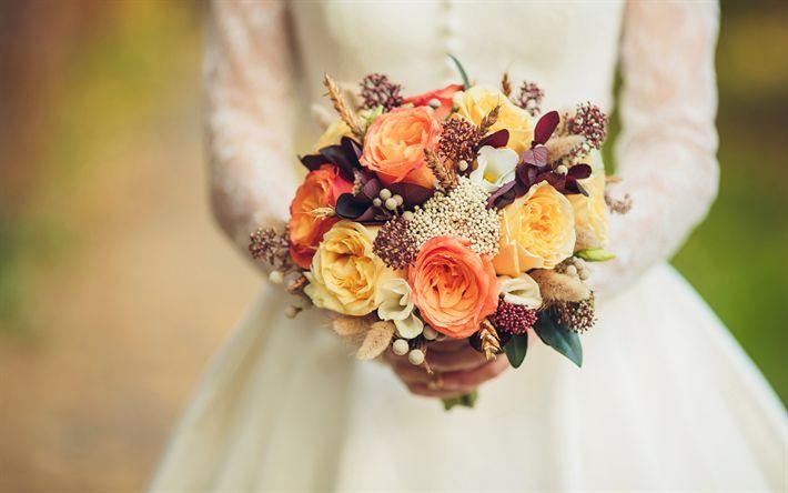 Lataa kuva Häät kukkakimppu, morsian, ruusut, eustoma, värikkäitä kukkia, häät