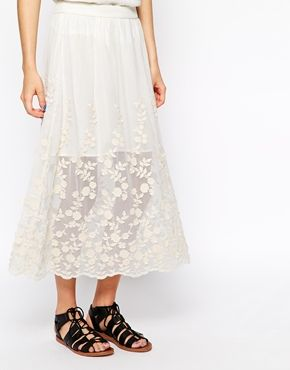 New Look Floral Lace Hem Skirt