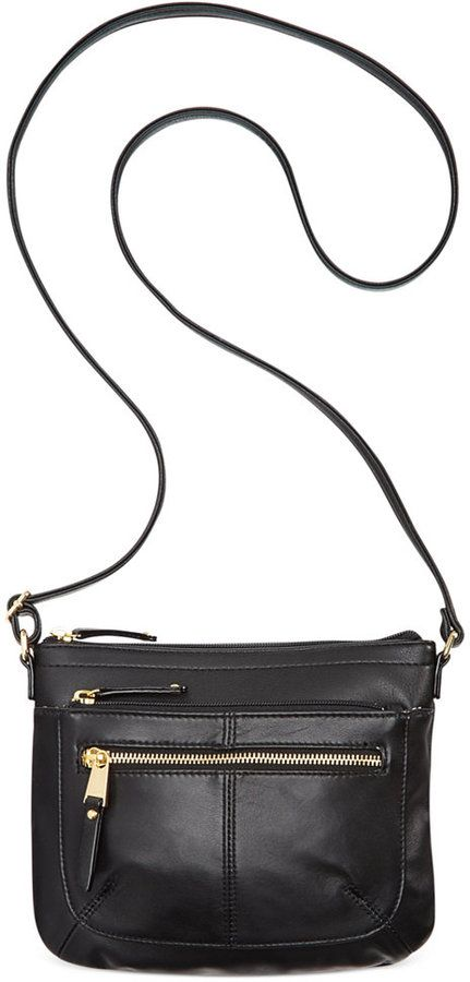 $79, Black Leather Crossbody Bag: Tignanello Pretty Pockets Smooth Leather Crossbody With Rfid Protection. Sold by Macy's. Click for more info: https://lookastic.com/women/shop_items/138142/redirect