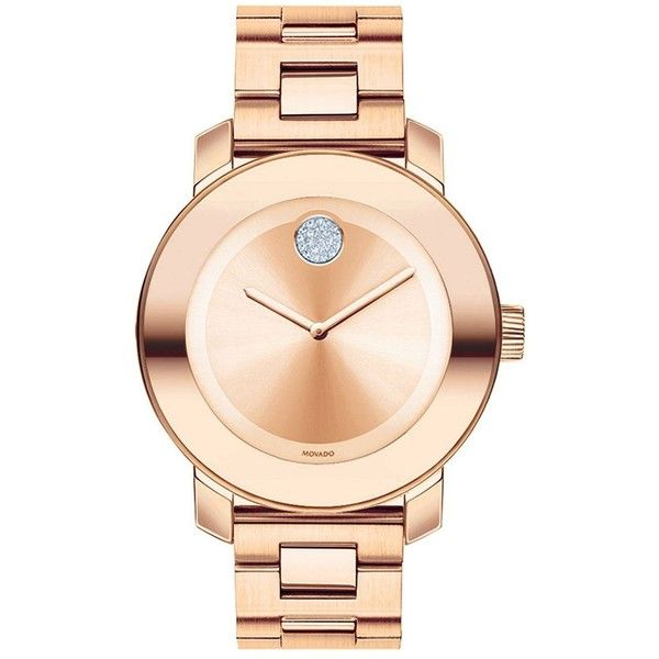 Movado Bold Bold Rose Goldtone IP Stainless Steel Bracelet Watch ($695) ❤ liked on Polyvore featuring jewelry, watches, rose gold diamond, movado jewelry, movado, movado wrist watch, stainless steel watches and mirrored jewelry