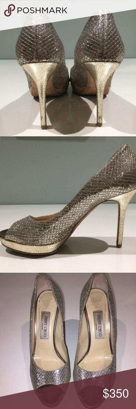 "Jimmy Choo Luna shoe Sparkly fabric & leather upper, leather lining. Peep toe platform. 4"" heel, 3/4"" platform, 100mm pitch. Size 8.5 or 38.5 Euro. Jimmy Choo Shoes Sandals"