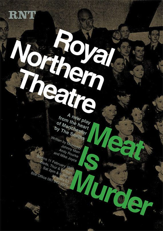 The Smiths Poster Meat Is Murder Music Theater Poster Morrissey and Marr As Playwrights Theatre Play Poster modern typography print