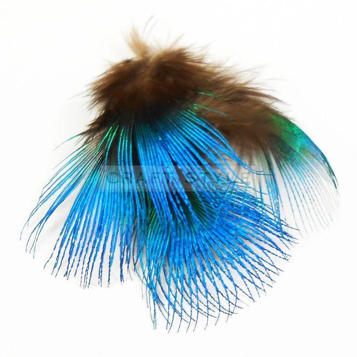 Paw pióra puchowe pawia NIEBIESKIE 2-5cm  (10szt)