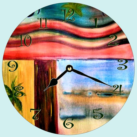 Retro tropical wall clock from my art by maremade on Etsy