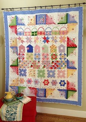 Nanette's Row by Row pattern quilt: Quilts Row, Quilts Patterns, Cabins Border, Freda Hives, Row Quilts, Berries Fun, Logs Cabins, Quilts Ideas, Fun Row