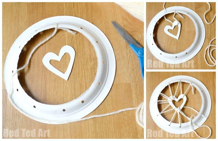 Paper Plate Crafts - Dream Catchers with Hearts - Red Ted Art's Blog : Red Ted Art's Blog