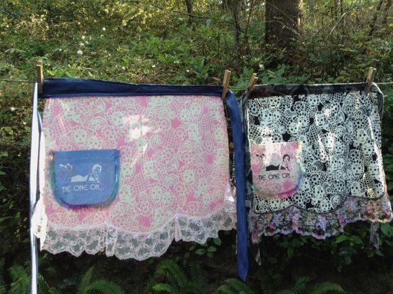 Skulls apron. Pretty pink and blue apron Fun half by CatWalkAprons