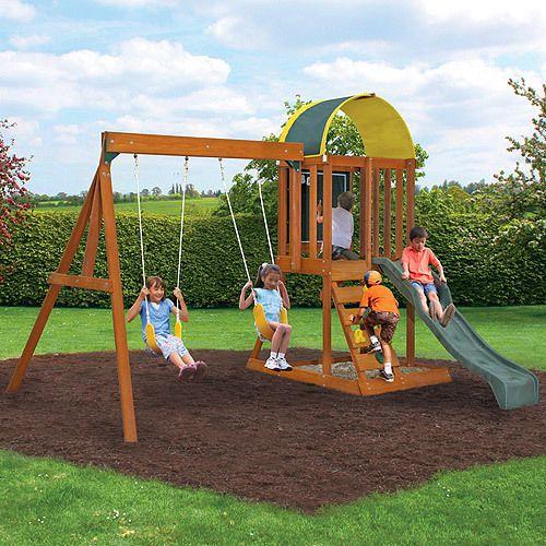 Cedar Wooden Swing Set Kit Outdoor Kids Playset Slide Backyard Fun Playground  | eBay