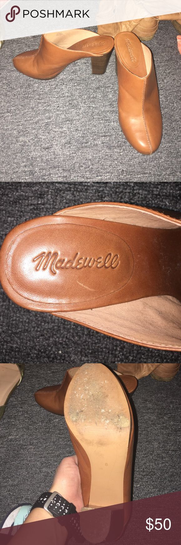 "Madewell Heeled Clogs Worn once! Made of high quality brown leather with a 4"" stacked heel. Great with jeans and a sweater or a shirt dress! Madewell Shoes Mules & Clogs"