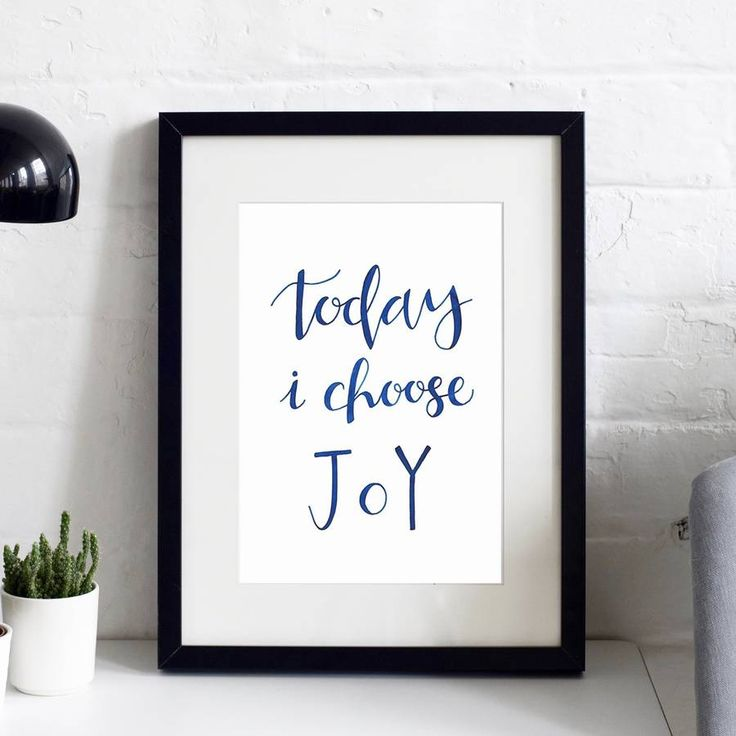 'Today I Choose Joy' Typographic Inspirational Print
