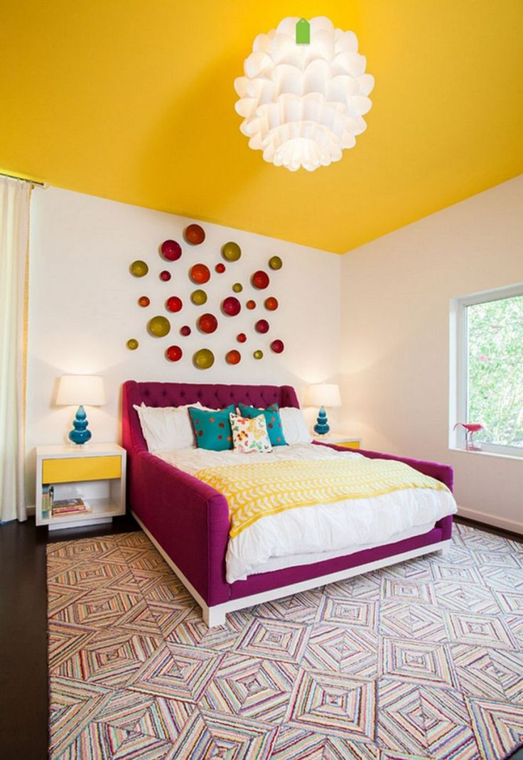 Bedroom With Purple Bed Frame And Yellow Ceiling Color