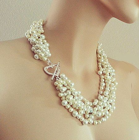 Pearl Necklace  Bridal Chunky Necklace  by PearlJewelryNecklace, $120.00