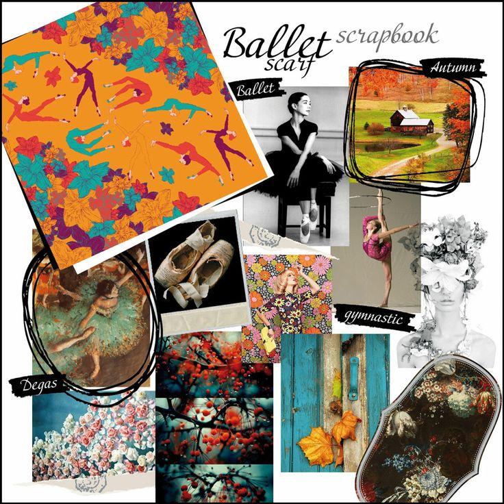 Irida BALLET scarf scrapbook. Anna Pavlova, impressionists and inspiring dance.