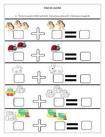 Fiecar fisa cuprinde adunari si sunt dedicate copiilor de clasa pregatitoare. Toate cifrele sunt reprezentate prin imaginii. Copiii sunt aju...