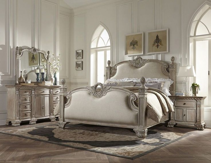 2 PC White Wash Antique Bedroom Set King Queen U0026 Night Stand Free Shipping  Wood