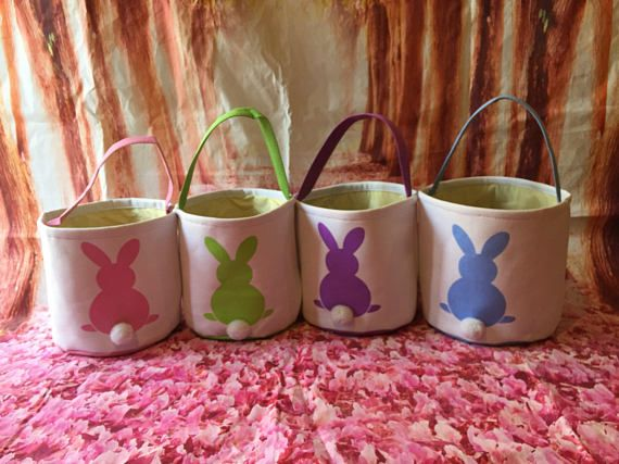 Wholesale Canvas Bunny Easter Basket. Blank Easter Egg Hunt Pale. Great for crafting and resell. Available in a variety of bunny tail colors. A great way to hunt for eggs. These baskets are adorable, they are a great size. each measures 10 inches in tall x 9 inches wide. They are canvas