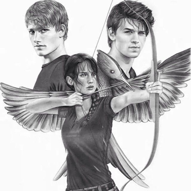 Illustration of #KatnissEverdeen as the #Mockingjay with #GaleHawthorne and #PeetaMellark